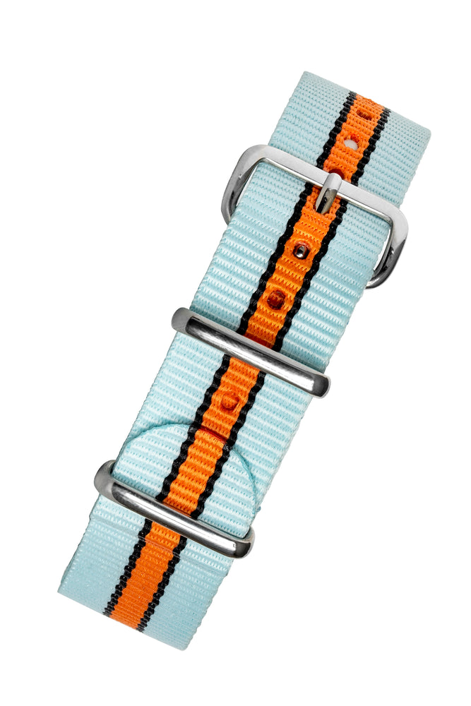 NATO Watch Strap in PALE BLUE / ORANGE Motorsport Stripes with Polished Buckle & Keepers