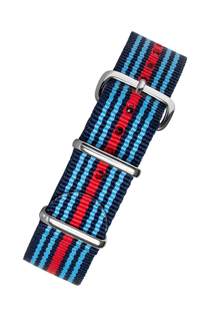 NATO Watch Strap in BLUE / RED Motorsport Stripes with Polished Buckle & Keepers