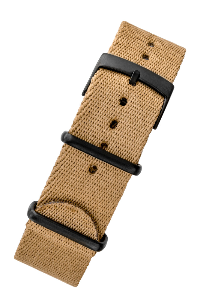 Premium NATO Watch Strap in SAND with Black PVD Hardware