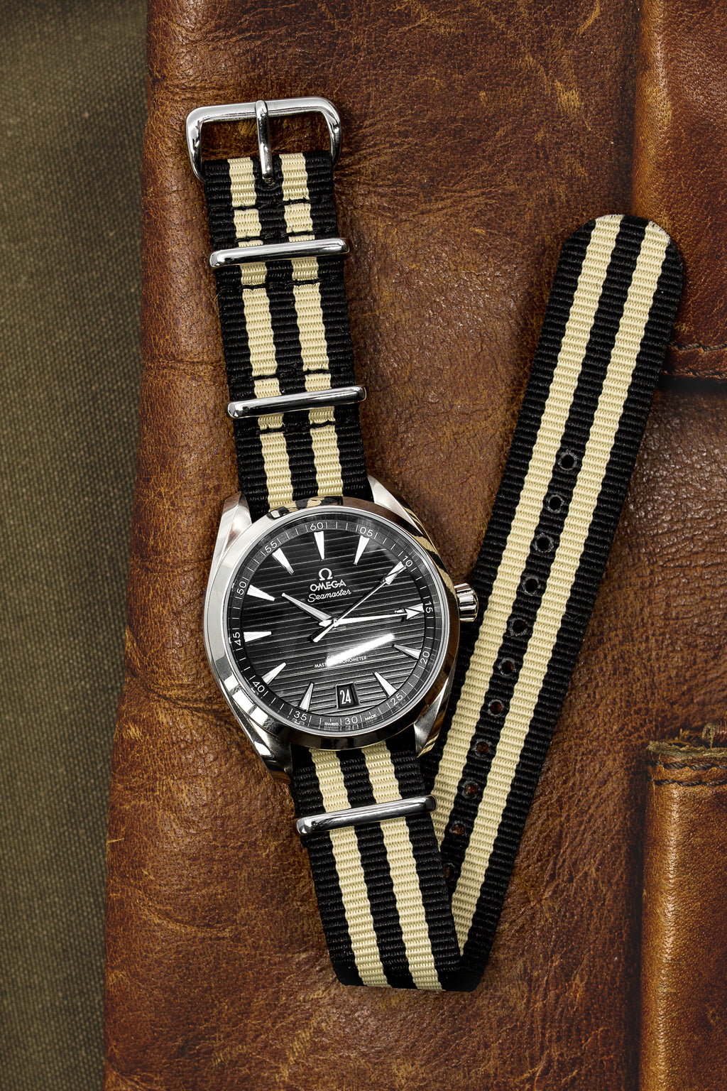 Nato Watch Straps in BLACK with BEIGE Stripes