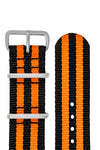 NATO Watch Strap in BLACK with ORANGE Stripes