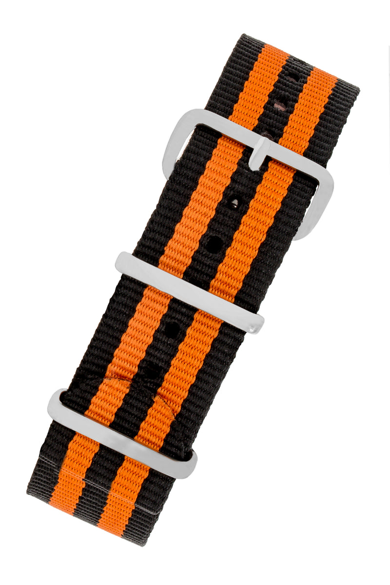 NATO Watch Straps in BLACK with ORANGE Stripes