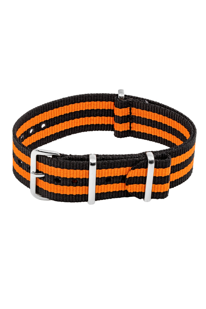 Load image into Gallery viewer, NATO Watch Strap in BLACK with ORANGE Stripes