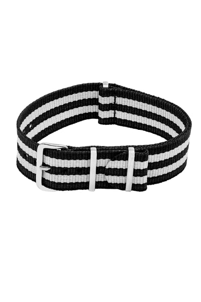 NATO Watch Strap in BLACK with WHITE Stripes