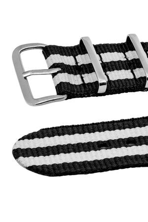 NATO Watch Straps in BLACK with WHITE Stripes