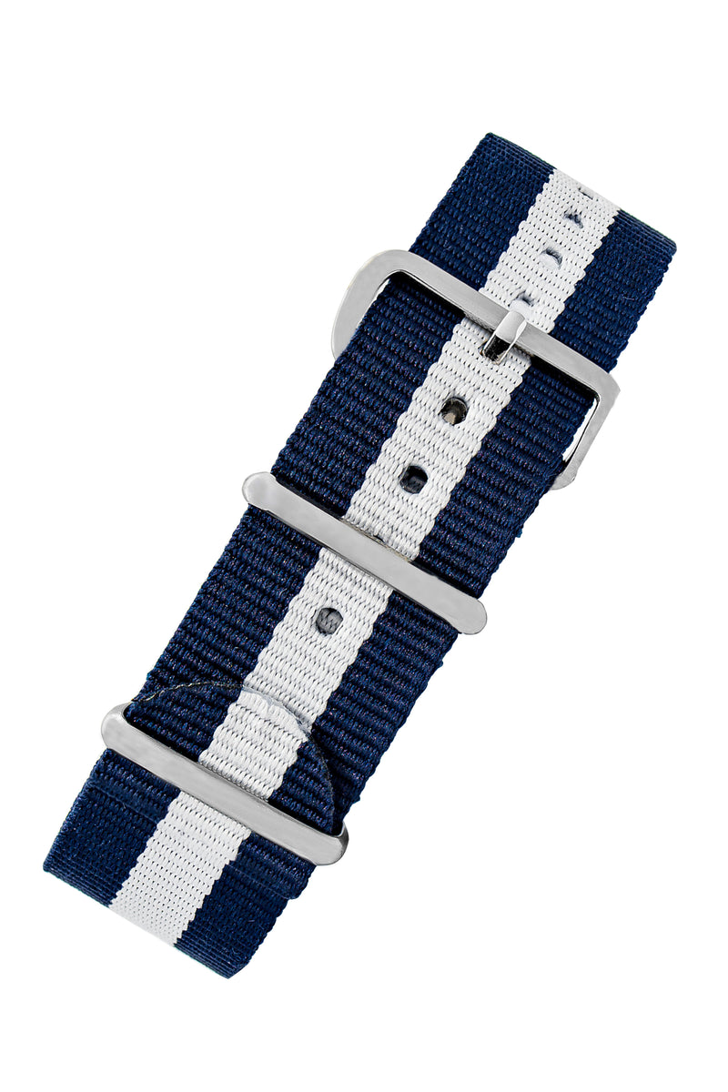 NATO Watch Straps in DARK BLUE with WHITE Stripe