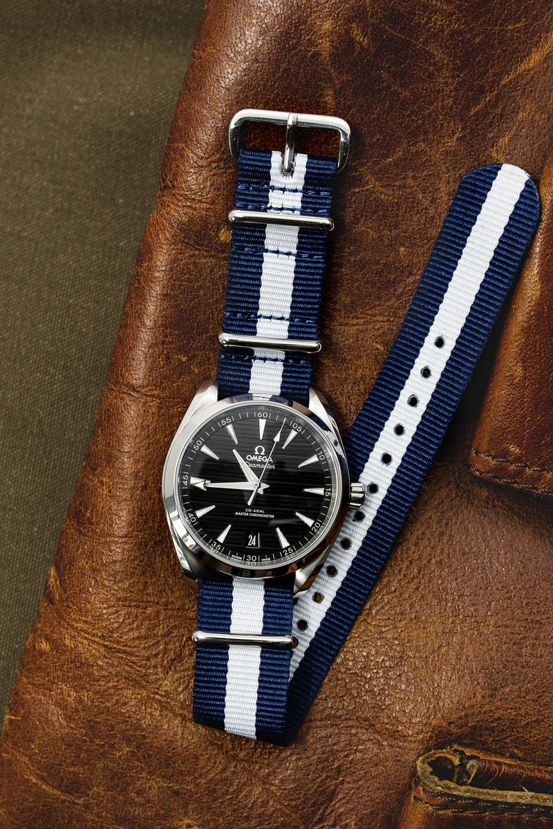 NATO Watch Strap in DARK BLUE with WHITE Stripe