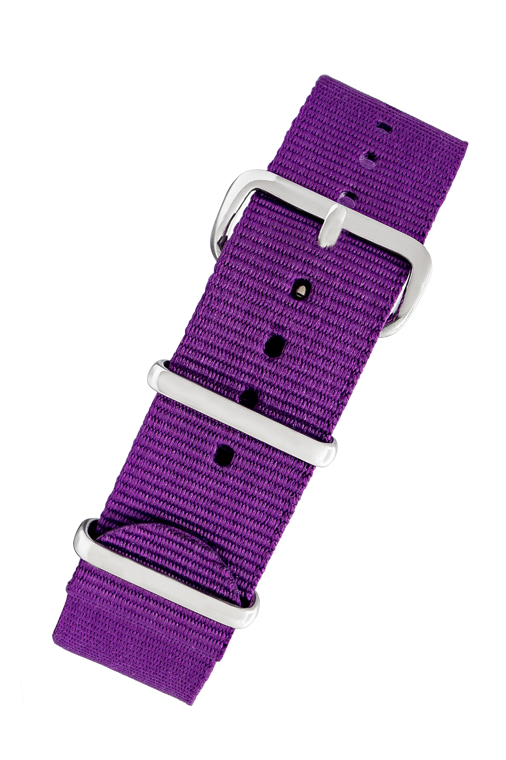 NATO Watch Strap in PURPLE with Polished Buckle and Keepers