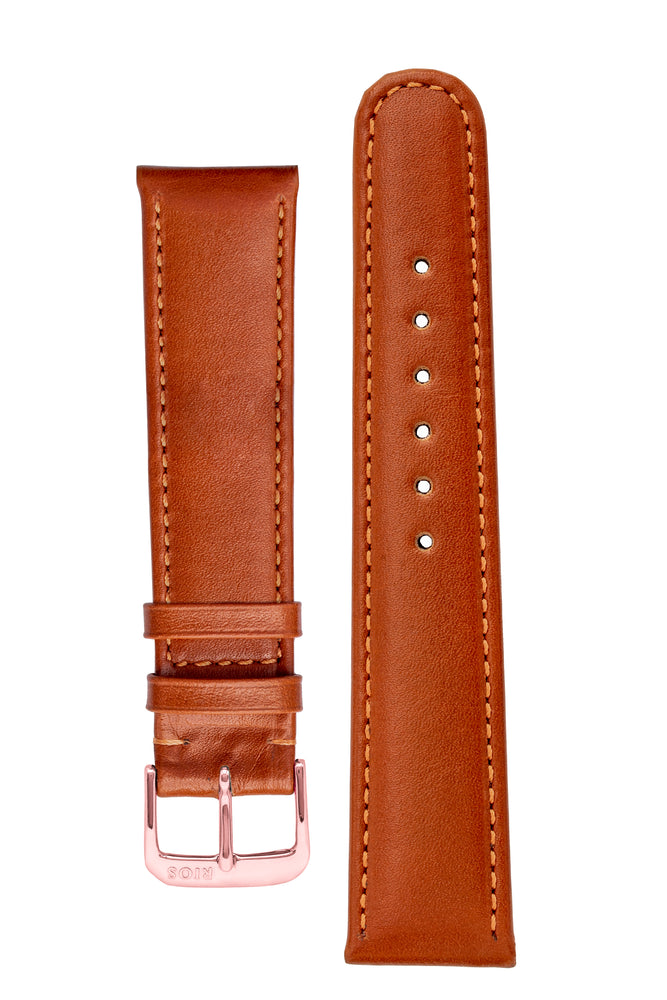 Rios1931 ARIZONA Genuine Saddle Leather Hook-On Watch Strap in COGNAC