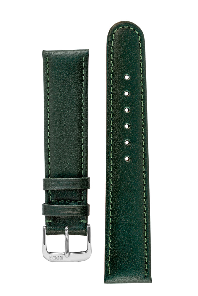 Rios1931 ARIZONA Genuine Saddle Leather Hook-On Watch Strap in FOREST GREEN