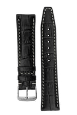 Rios1931 BOSTON Alligator-Embossed Leather Watch Strap in BLACK