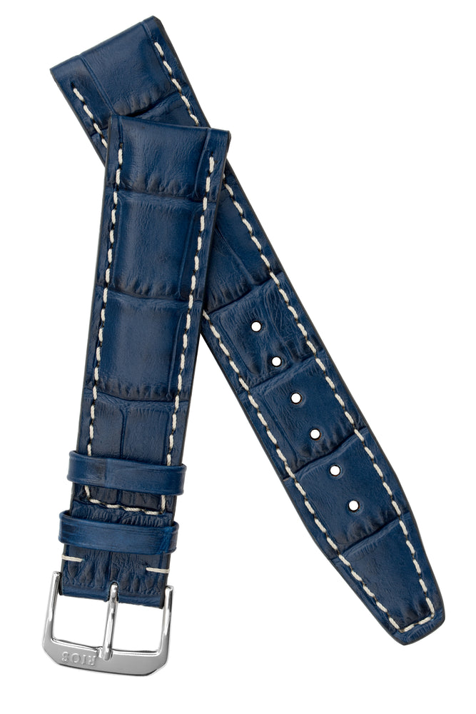 Rios1931 BOSTON Alligator-Embossed Leather Watch Strap in NAVY BLUE