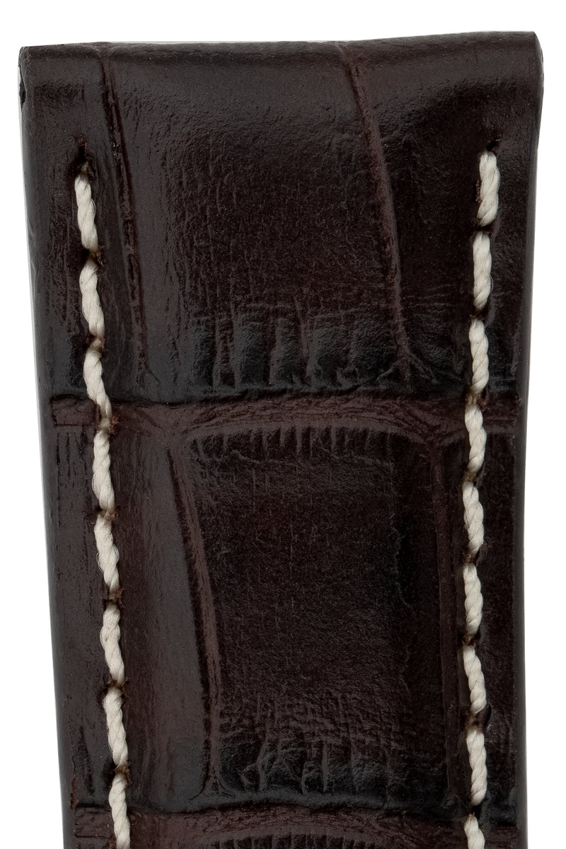 Rios1931 BOSTON Alligator-Embossed Leather Watch Strap in MOCHA