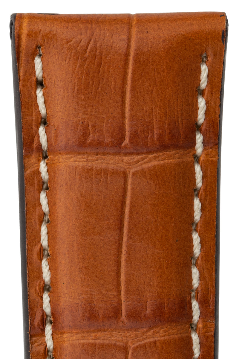 Rios1931 BOSTON Alligator-Embossed Leather Watch Strap in COGNAC