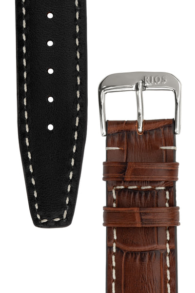 Rios1931 BOSTON Alligator-Embossed Leather Watch Strap in MAHOGANY