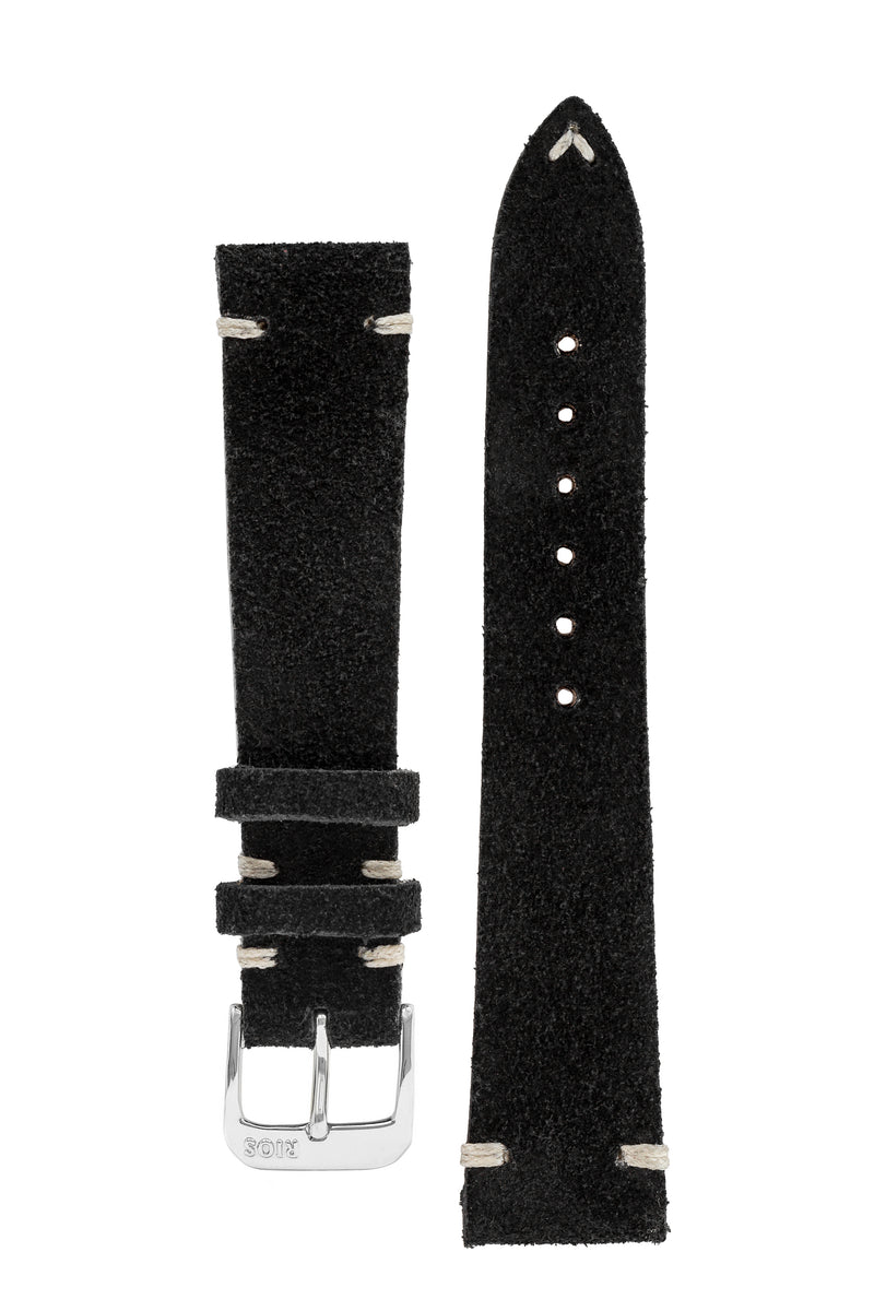 Rios1931 HUDSON Genuine Suede Leather Watch Strap in BLACK