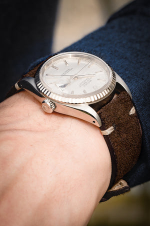 Rios1931 HUDSON Genuine Suede Leather Watch Strap in MOCHA