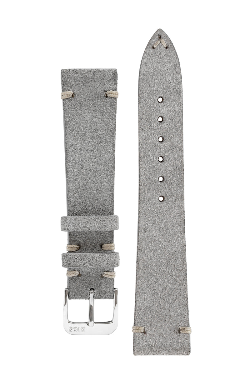 Rios1931 HUDSON Genuine Suede Leather Watch Strap in STONE GREY