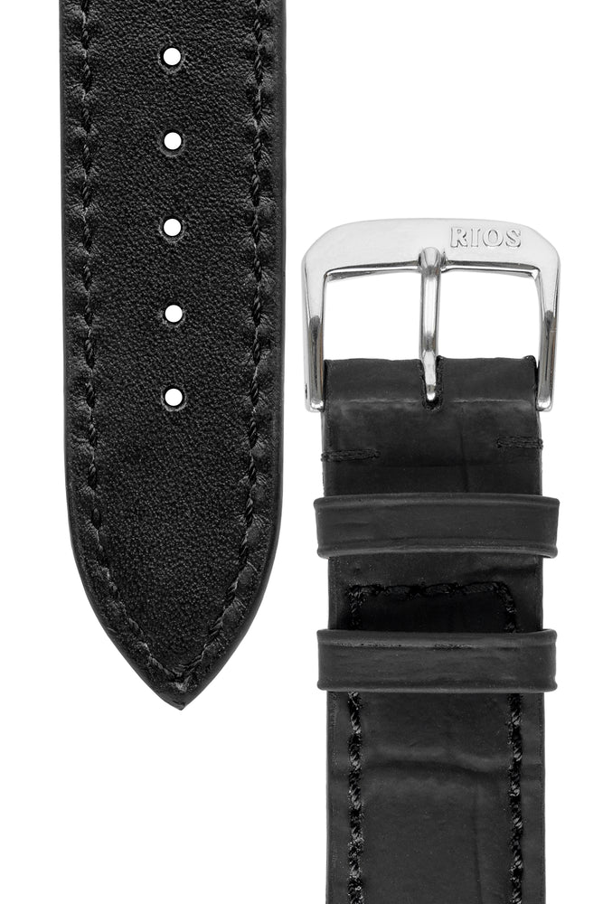 Load image into Gallery viewer, Rios1931 POWER Water Resistant Alligator-Embossed Leather Watch Strap in BLACK