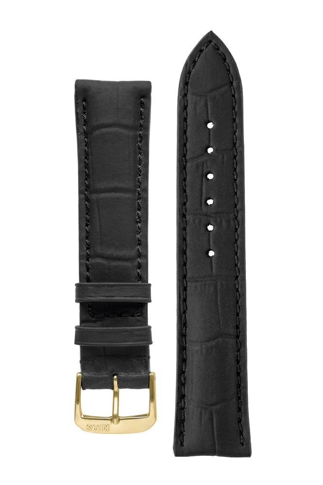 Rios1931 POWER Water Resistant Alligator-Embossed Leather Watch Strap in BLACK