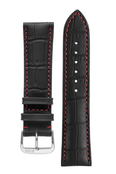 Rios1931 SPEED Water Resistant Alligator-Embossed Leather Watch Strap in BLACK
