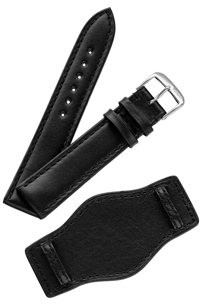 Rios1931 TULA Genuine Russia Leather Bund Watch Strap in BLACK
