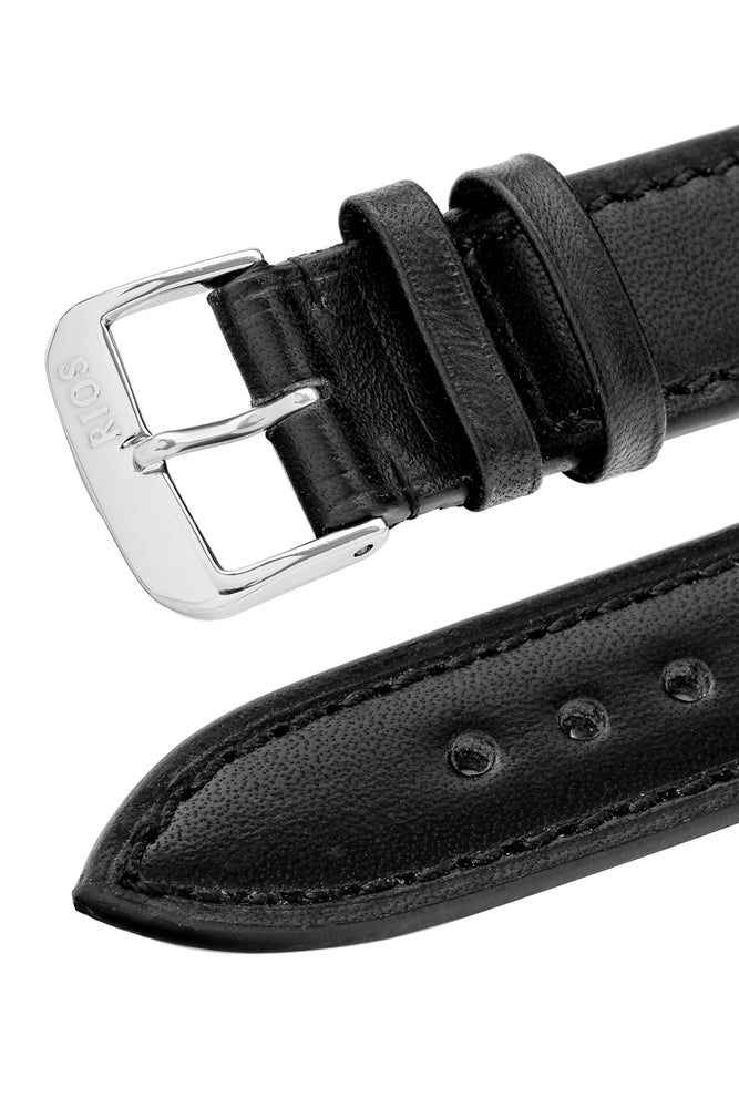Load image into Gallery viewer, Rios1931 TULA Genuine Russia Leather Bund Watch Strap in BLACK