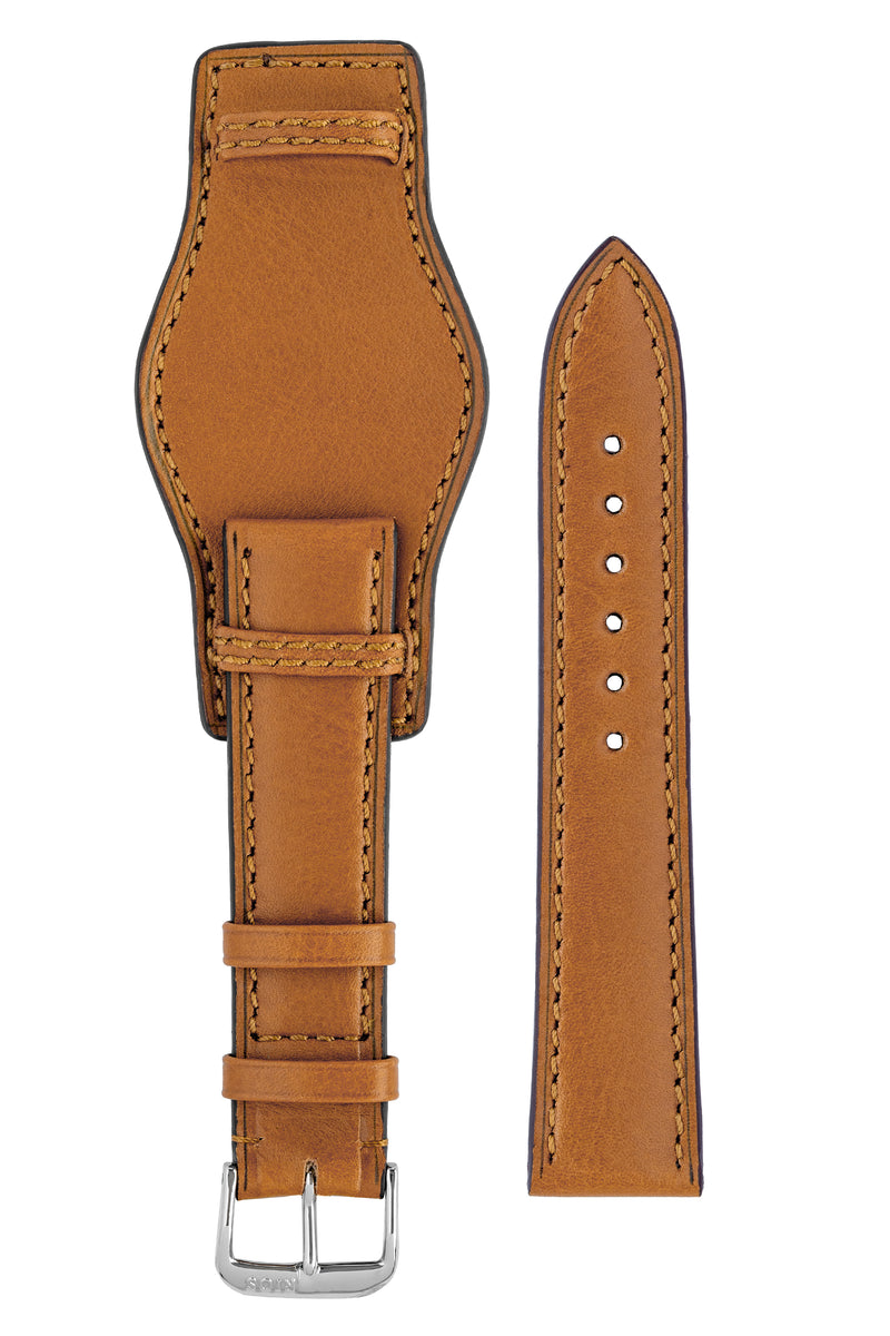 Rios1931 TULA Genuine Russia Leather Bund Watch Strap in HONEY