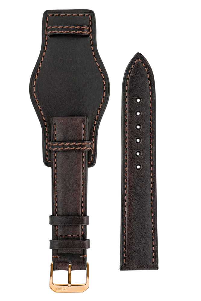 Load image into Gallery viewer, Rios1931 TULA Genuine Russia Leather Bund Watch Strap in MOCHA