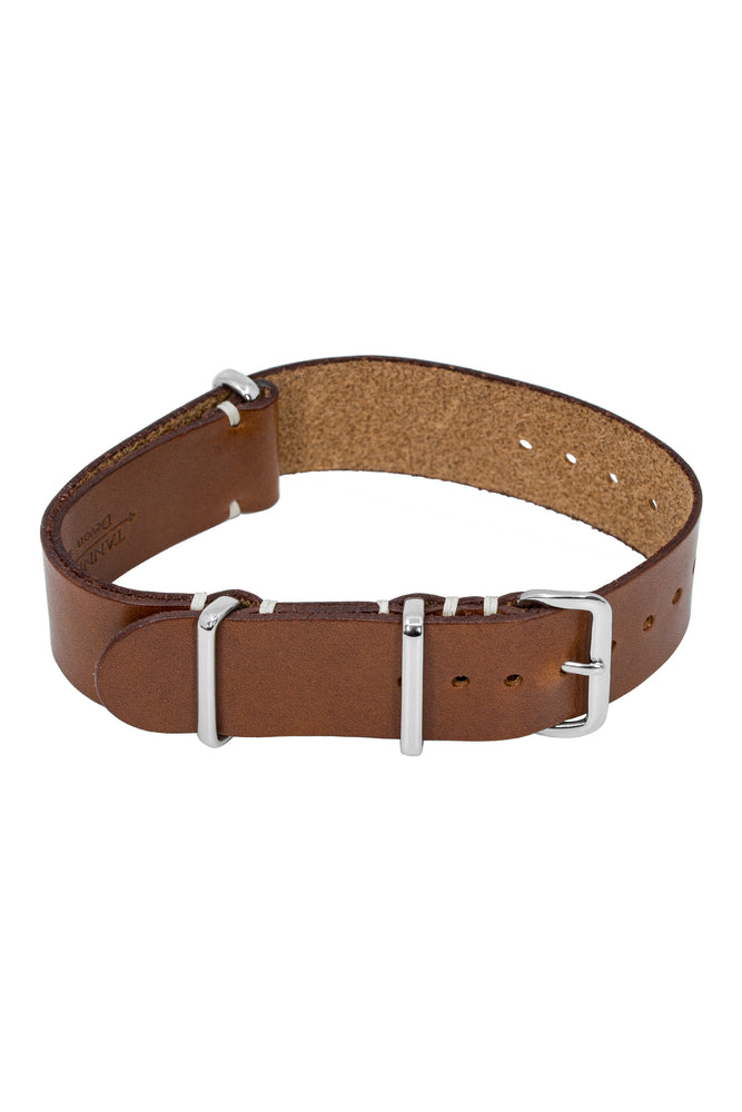 TANNER BATES Leather NATO Watch Strap with Polished Hardware in SADDLE TAN