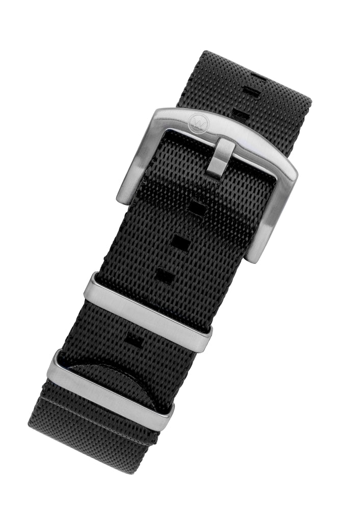 Seatbelt NATO Nylon Watch Strap in BLACK with BRUSHED STEEL Hardware