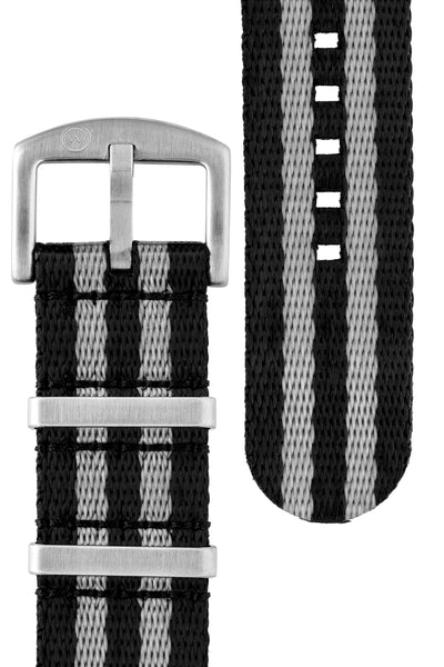 Seatbelt NATO Nylon Watch Strap in BLACK & GREY Stripes with BRUSHED STEEL Hardware