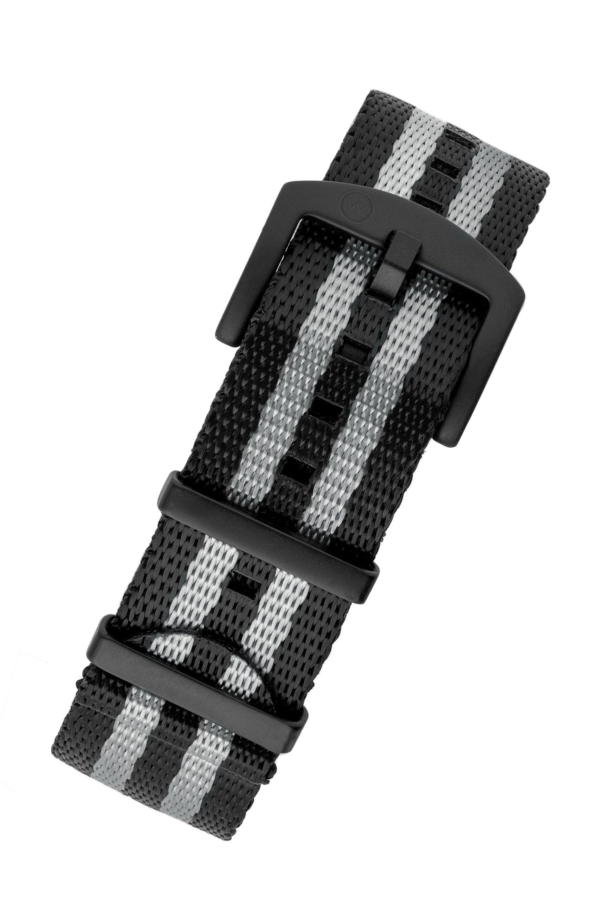Seatbelt NATO Nylon Watch Strap in BLACK & GREY Stripes with BLACK PVD Hardware