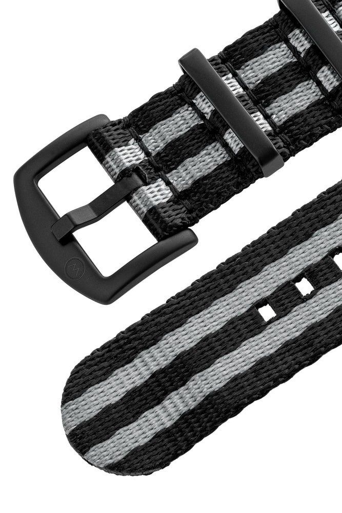 Load image into Gallery viewer, Seatbelt NATO Nylon Watch Strap in BLACK & GREY Stripes with BLACK PVD Hardware