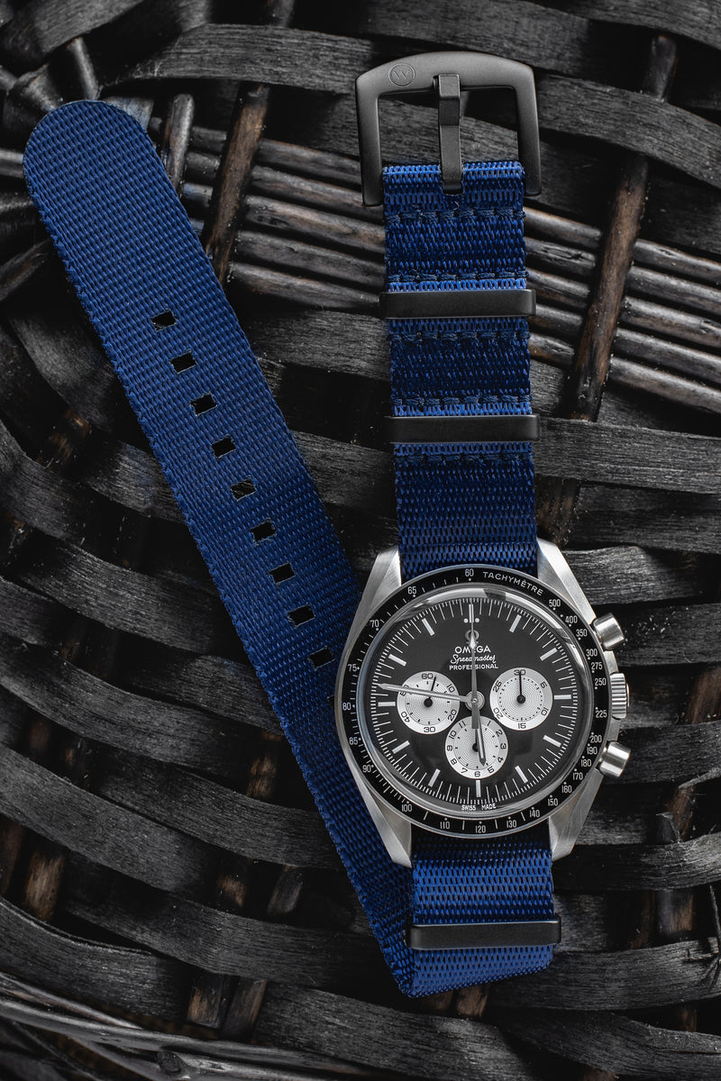Seatbelt NATO Nylon Watch Strap in DARK BLUE with BLACK PVD Hardware