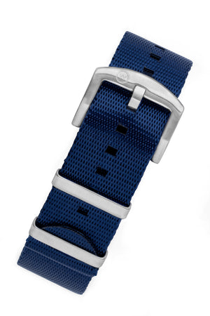 Seatbelt NATO Nylon Watch Strap in DARK BLUE with BRUSHED STEEL Hardware
