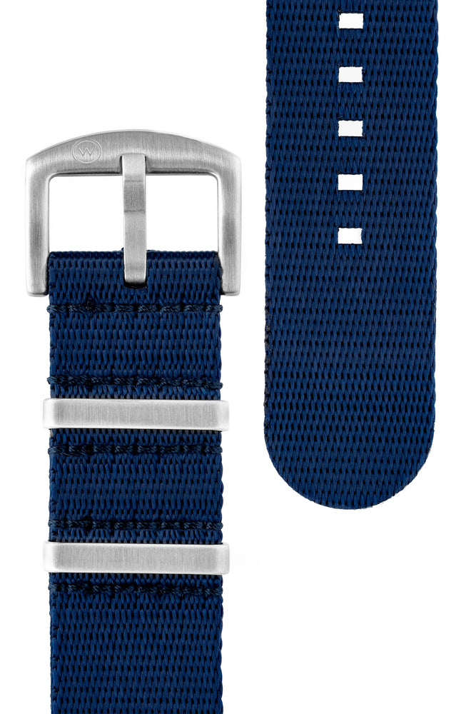 Load image into Gallery viewer, Seatbelt NATO Nylon Watch Strap in DARK BLUE with BRUSHED STEEL Hardware