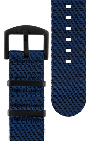Load image into Gallery viewer, Seatbelt NATO Nylon Watch Strap in DARK BLUE with BLACK PVD Hardware
