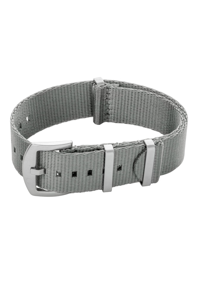 Seatbelt NATO Nylon Watch Strap in GREY with BRUSHED STEEL Hardware