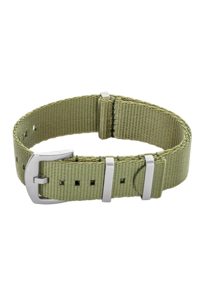 Seatbelt NATO Nylon Watch Strap in OLIVE GREEN with BRUSHED STEEL Hardware