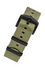 Seatbelt NATO Nylon Watch Strap in OLIVE GREEN with BLACK PVD Hardware
