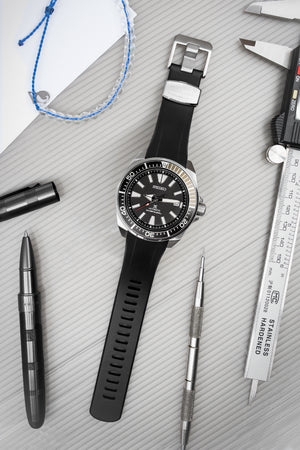 "Crafter Blue Rubber Watch Strap for Seiko ""New"" Samurai Series – Black (Promo Photo)"