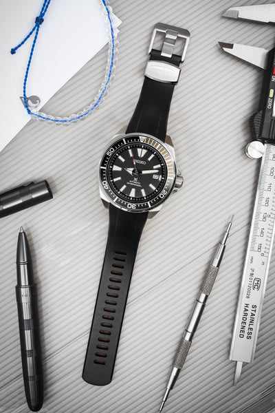 "CRAFTER BLUE Rubber Watch Strap for Seiko ""New"" Samurai Series – BLACK & ORANGE"