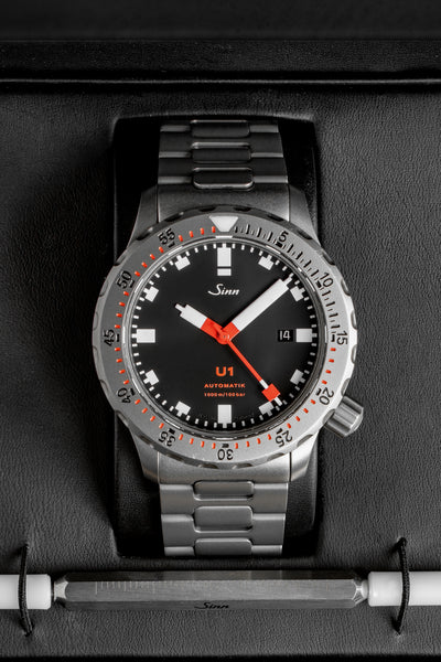 SINN U1 Submarine Steel 44mm Automatic Diver's Watch - Steel Bracelet