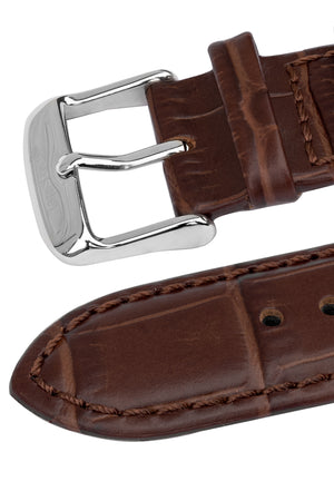 TAPSTRAP Crocodile-Embossed Leather Watch Strap for Contactless Payments - BROWN