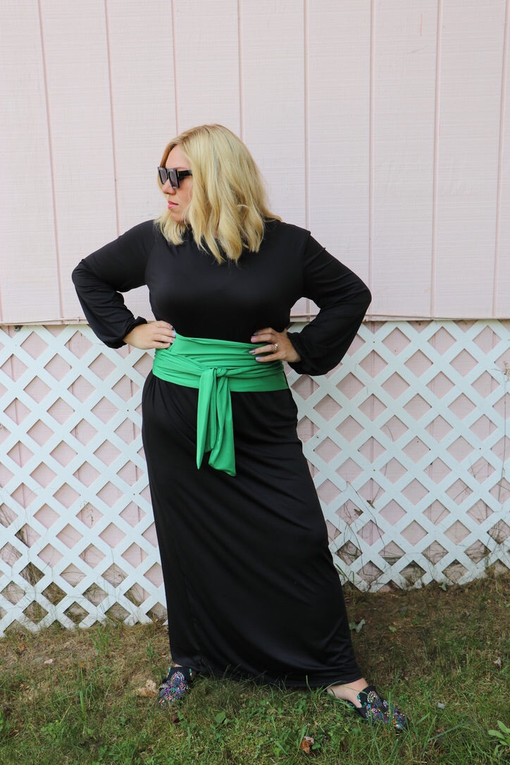 Heidi Maxi Dress Black and Green