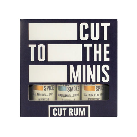 CUT RUM Miniature Trio Gift Set | 2 x 50ml Spiced Rum & 1 x 50ml Smoked Rum | Rum Gift Set