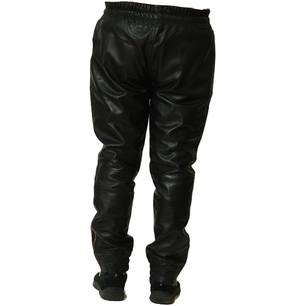 Mens black leather joggers back