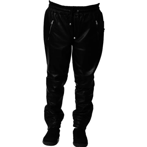 Mens black leather joggers front