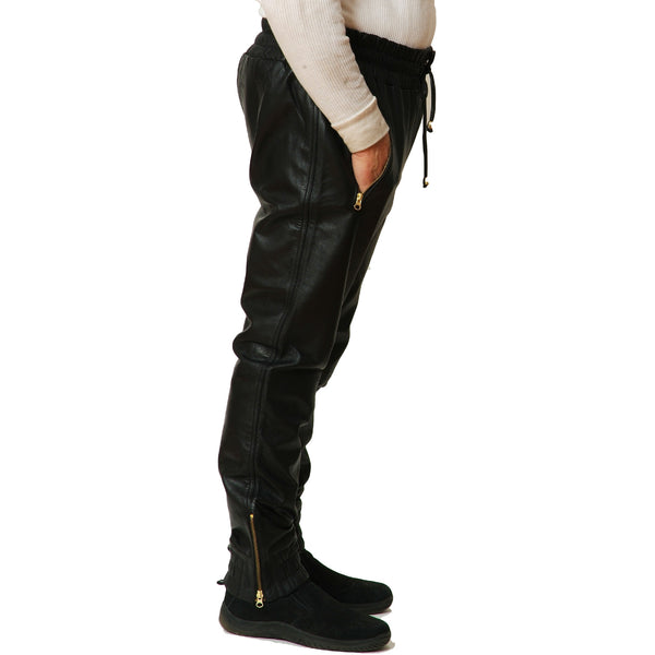 Mens black leather joggers side